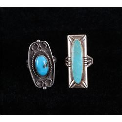 Navajo Morenci & Blue Gem Turquoise Sterling Rings