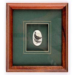 Framed Walrus Ivory Cross Cut Scrimshaw