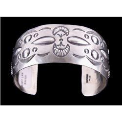 Navajo Allen Lee Sterling Silver Stamped Bracelet