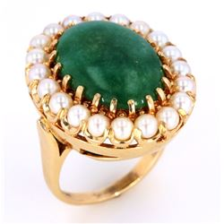 1940's Jadeite & Pearl 14K Gold Ring w/ Papers