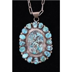 Navajo Apache Blue Sterling Silver Necklace