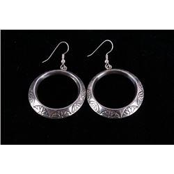 Navajo Sterling Silver Stamped Earrings