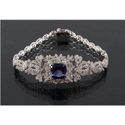 Art Deco Tanzanite & Diamond 14K Gold Bracelet