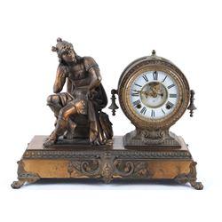 Ansonia Clock Co. Hermes Brass Mantle Clock