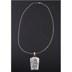 Navajo T. Singer Sterling Eagle Pendant Necklace