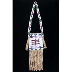 Lakota Sioux Fully Beaded Hide Bag w/ Beaded Strap