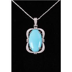 Vintage Turquoise & Diamond 14K Gold Necklace