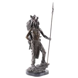 Indian Brave Bronze Statue with Bear Headdress