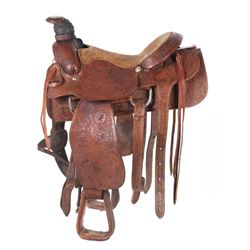 "Stunning Billy Cook Longhorn 16"" Roping Saddle"