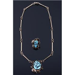 Navajo 12k Gold Fill & Turquoise Necklace & Ring