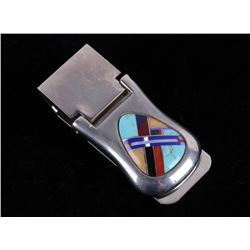 Navajo Blue Gem, Multi-Stone Inlaid Money Clip