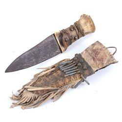 Apache Dag Knife w/ Parfleche Rattlesnake Sheath