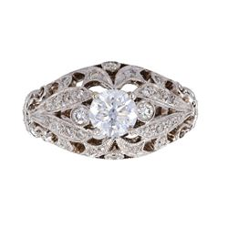 Art Deco European 1.27 ct. Diamond 18K Gold Ring