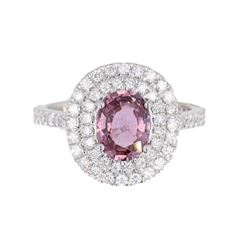 Purplish Pink Sapphire & Diamond 18K Ring