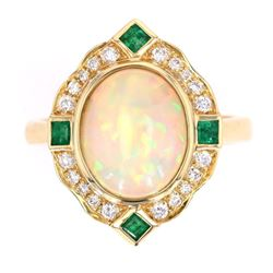 Art Deco Style Opal Emerald & Diamond 14K Ring