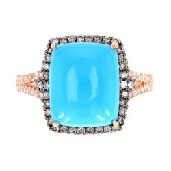 Modern Turquoise & Diamond 14K Rose Gold Ring