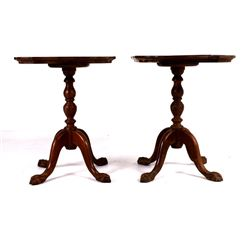 Pair of Mahogany Queen Anne Clawfoot Tables