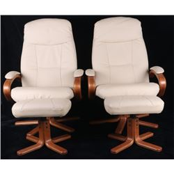 20th C. Italian White Leather Reader Chairs