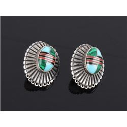 Navajo Sterling Mosaic Inlay Earrings