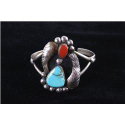 Navajo Dry Creek Turquoise & Coral Silver Bracelet