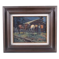 Sheryl Bodily Framed Original Western Oil Painting