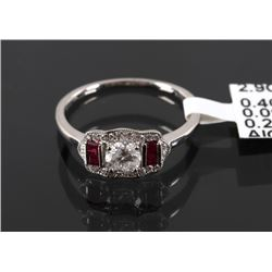 1930's Style Diamond & Ruby Platinum Ring