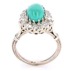 1940's Turquoise & Diamond 14K Ring w/ GIA Papers