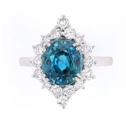 RARE Blue Zircon & VS2 Diamond Platinum Ring