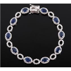 Royal Blue Sapphire & Diamond Platinum Bracelet