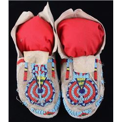 Montana Crow Beaded Key Hole Moccasins c. 1900-