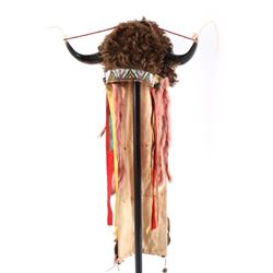 Cheyenne Beaded Buffalo Horn Headdress