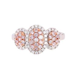 Fancy Pink & White Diamond 18K Gold Ring