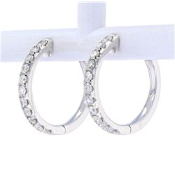 Diamond Hoop Eternity Earrings set in 18K Gold