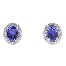 Gorgeous Tanzanite & Diamond 14K Stud Earrings