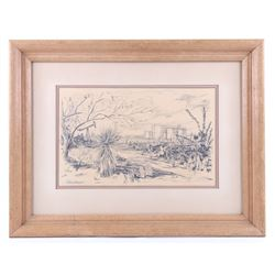 Original Joe Johnson Texas Pump Jack Framed Sketch
