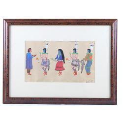 Ray Sanders Pueblo Dancers Framed Gouache Painting