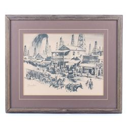 """""""Boomtown"""" By Malone Mid 1900's Western Print"""