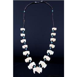 Navajo Bone & Heishi Buffalo Effigy Necklace