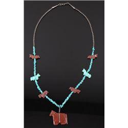 Navajo Turquoise & Jasper Horse Effigy Necklace