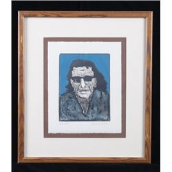 Fritz Scholder Framed Self Portrait Lithograph