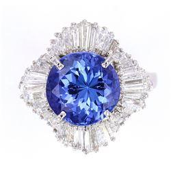 AAA Quality Tanzanite & VVS2 Diamond Platinum Ring