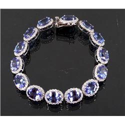 24.92ct Tanzanite & 3.51ct Diamond 14K Bracelet