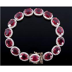 RARE 39.58 ct. Ruby & 5.85ct. Diamond 14K Bracelet