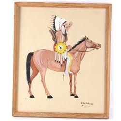 Arapahoe Artist Carl Sweezy (1881–1953) Watercolor