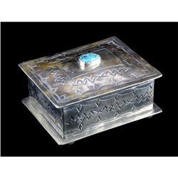 Navajo Style J. Alexander Turquoise Set Silver Box