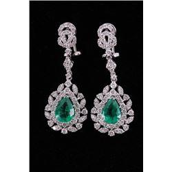Antique Style Diamond Wreath Emerald 18K Earrings