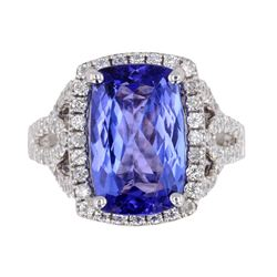Tanzanite AAA Quality & Diamond Platinum Ring RARE