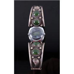 Navajo Sterling & Malachite Watch Band w/ Watch