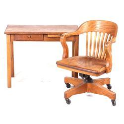 Early 1900's Quarter Sawn Oak Office Desk & Chair