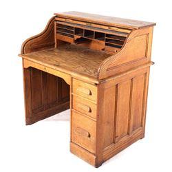 Quarter Sawn Oak Roll Top Secretary Desk C. 1900